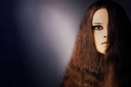 Woman portrait young fashion model face half closeup Stock Photo - 17385052