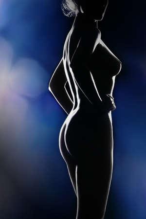 Nude woman sexy body. Naked sensual beautiful girl