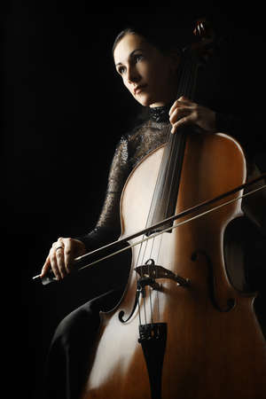 Cello cellist player classical musician Stock Photo