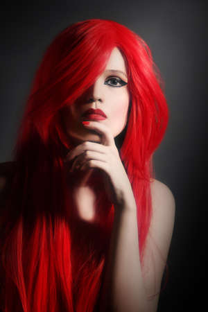 Red hair woman hairstyle portrait  Elegant fashion model face photo