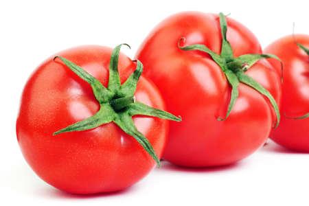 tomatos: Red tomato  Tomatoes isolated on white Stock Photo