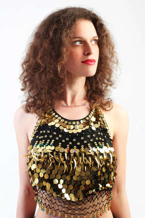 gaud: Curly woman in bright dress portrait