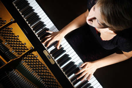 concert background: Piano player Stock Photo