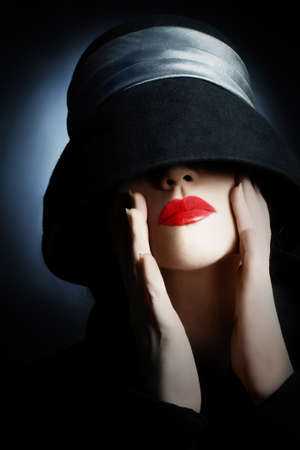 hat nude: Fashion portrait woman in hat with red lips makeup Stock Photo