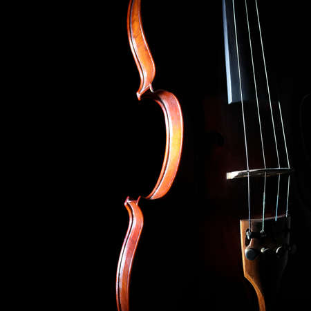violas: Violin orchestra musical instruments  Silhouette string closeup on black