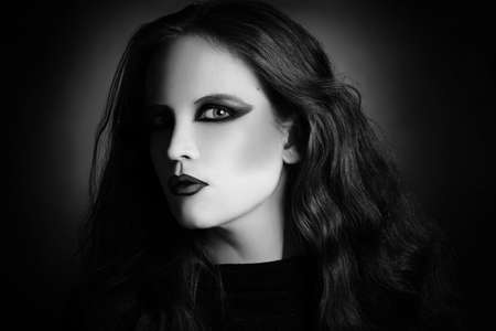 gothic woman: Gothic woman fashion portrait in black and white  Attractive gothical girl