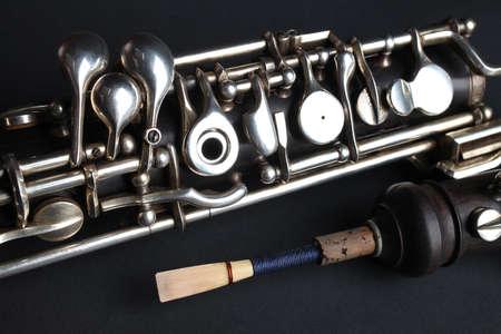 clarinete: Madera, oboe instrumentos musicales Foto de archivo