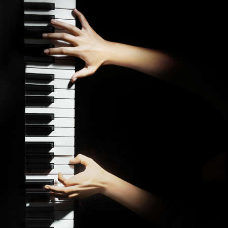Piano pianist hands playing  Musical instruments details photo