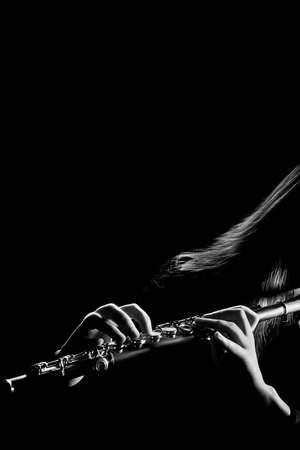 Flöte Orchesterkonzert Musikinstrumente Flötist isoliert
