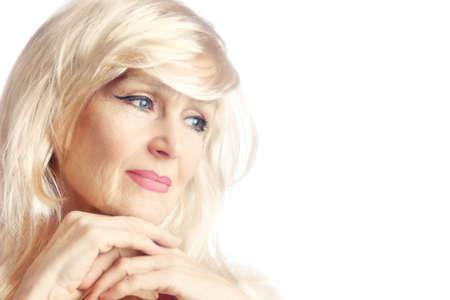 Senior woman Portrait of smiling beautiful mature woman 60 years old photo