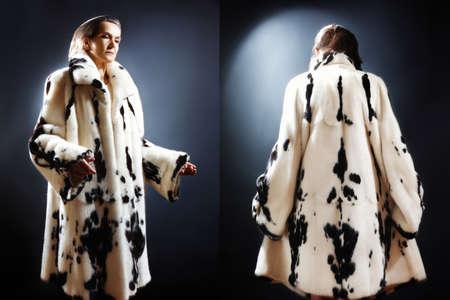 elegante: Mode de vêtements manteau de fourrure d'hiver femme d'âge mûr en vison blanc tacheté manteau de fourrure