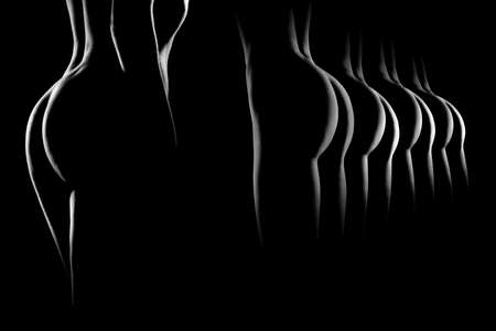 Nude woman  Naked sensual girls buttocks  Black and white erotic fine art photo