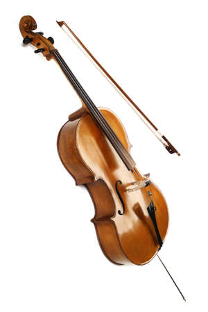 Cello Orchester Musikinstrumenten auf weißem