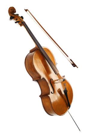 violines: Instrumentos musicales de la orquesta violonchelo aislados en blanco Foto de archivo