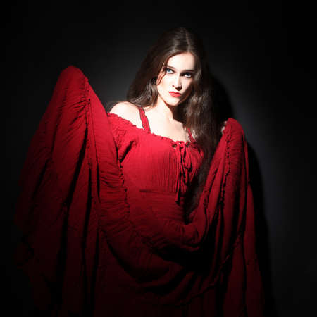 Stock Photo Woman In Red Dress Sexy Model Portrait In Darkness Lady In Red