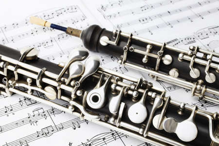 Classical music instruments oboe playing  Musical instrument with music sheet notes Foto de archivo