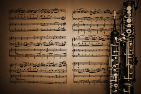 Musical instruments classical music sheet notes with oboe