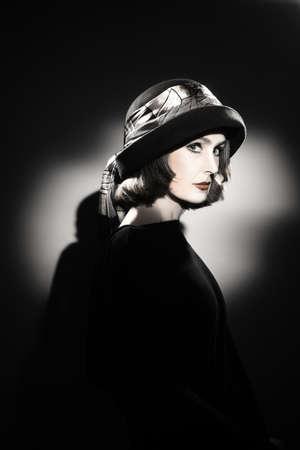 Elegant woman in hat Fashion portrait  Retro vintage stylish lady photo