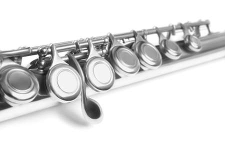 Flute music  Flute instrument close up isolated on white