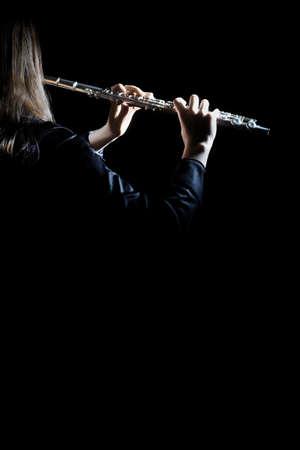 Flötenspieler mit Musikinstrument spielen Flötist Konzert Lizenzfreie Bilder