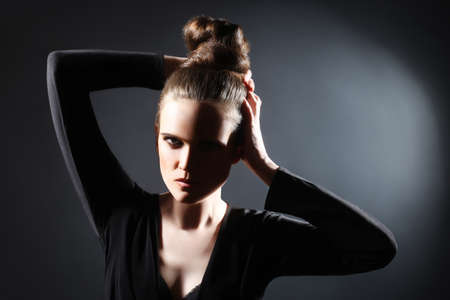 upsweep: Fashion woman portrait  Young model with updo hair style Stock Photo