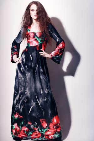 maxi dress: Fashion model in long dress  Elegant woman in maxi evening dress