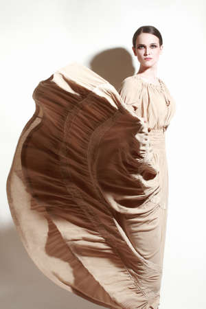 Elegant woman in beige dress  Fashion model in long flying dress photo