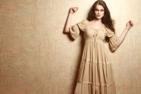 maxi dress: Fashion woman in vintage dress  Retro dress model elegant romantic style