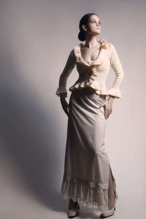 maxi dress: Elegant woman in long skirt white dress.  Fashion model in romantic clothes