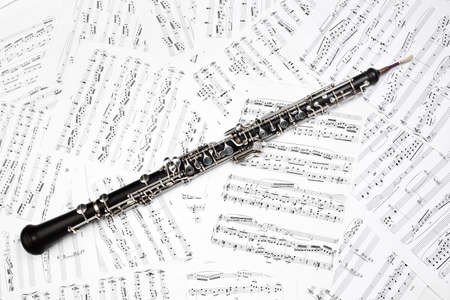 oboe: Oboe with music sheet notes classical musical instruments