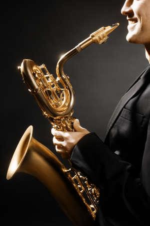 Saxophone man musical instruments Jazz saxophonist with Baritone sax