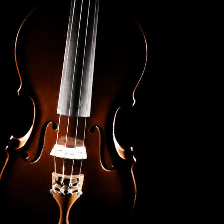 Violin orchestra musical instruments close up on black isolated photo