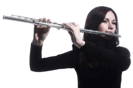 Flute player flutist playing music instrument isolated on white