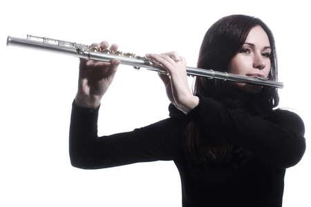 flauta: Jugador flautista flauta instrumento música jugando aislado en blanco