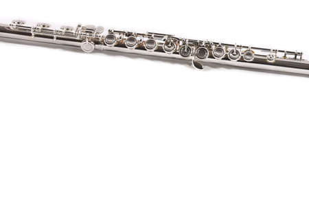 silver flute: Flute Music Instrument Close up isolated on white background