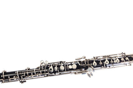 oboe: Oboe Musical instruments close up isolated on white Stock Photo