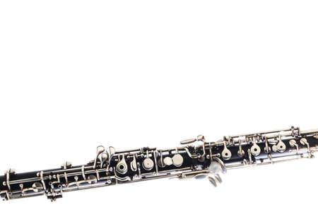 Oboe Muziekinstrumenten close-up geïsoleerd op wit Stockfoto