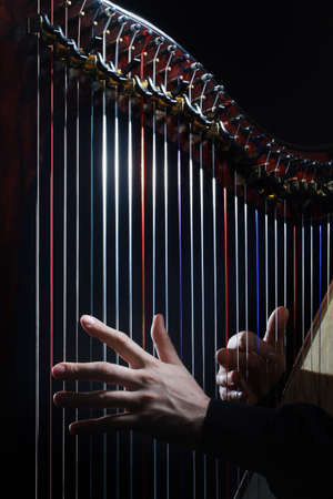 Harp strings closeup hands. Harpist with Classical Music Instrument Banco de Imagens