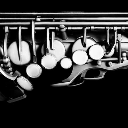 concert flute: Saxophone alto jazz music instruments Sax close up Saxophone isolated on black Stock Photo