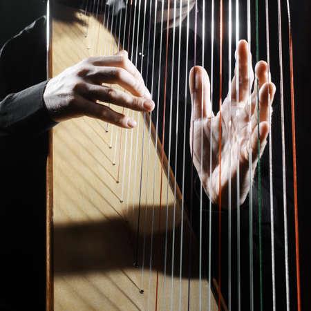 arpa: Harp cuerdas manos primer. Arpista con instrumento de música clásica