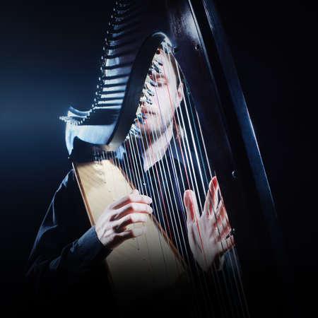 performer: Irish harp player. Musician harpist music performer portrait Stock Photo