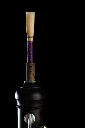 double reed: Oboe reed isolated on black background Musical instruments detail Stock Photo