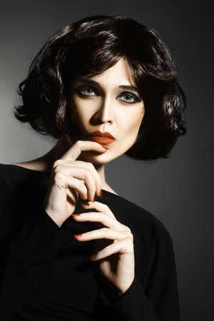 black hair: Brunette woman with black hair Sexy fashion model portrait Stock Photo