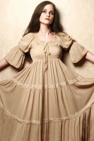 bell bottomed: Fashion woman in vintage dress  Retro dress model elegant romantic style