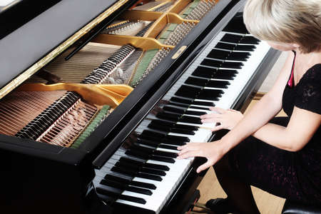 piano player: Grand Piano pianist concert playing Piano Player classical musician Stock Photo