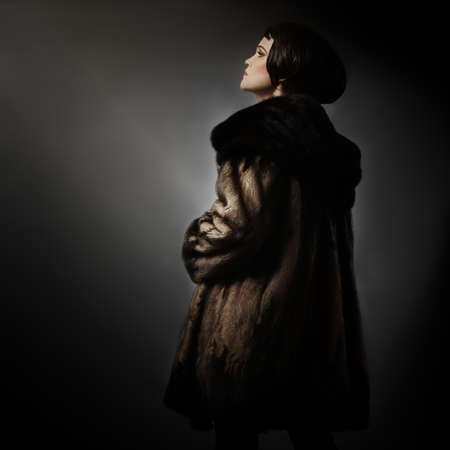 Fur coat winter fashion elegant Woman clothes in mink fur coat