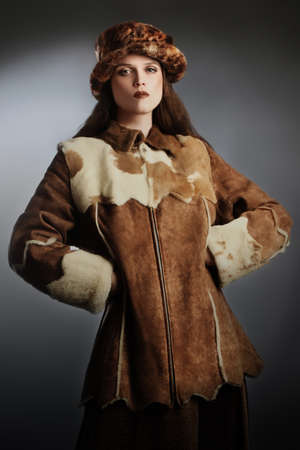 sheepskin: Sheepskin coat winter clothes Elegant woman fashion winter hat