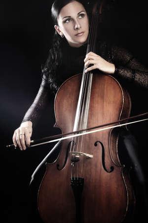 cellist: Cello player cellist playing violoncello Stock Photo