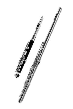 Flute music. Piccolo flute instrument. Isolated on white musical instruments