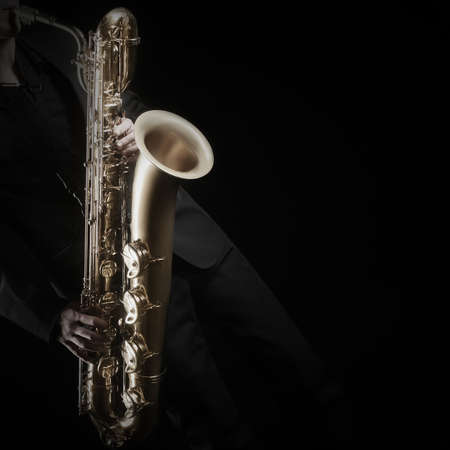 Saxophone Player Saxophonist jazz man with Sax baritone Jazz Musician hands closeup